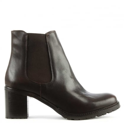 Brown Leather Chunky Heel Chelsea Boot