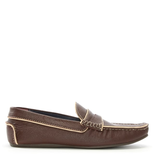 Brown Leather Contrast Trim Loafers