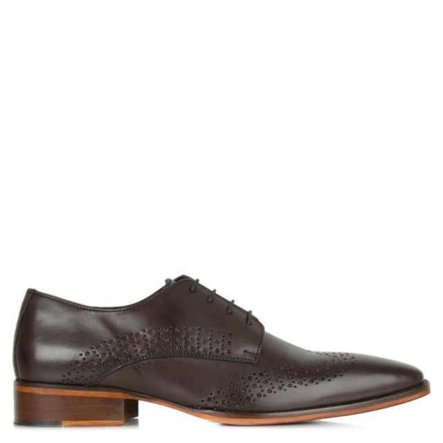 Brown Leather Hole Punch Lace Up Shoe