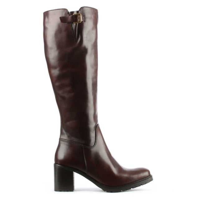 Brown Leather Knee High Boot