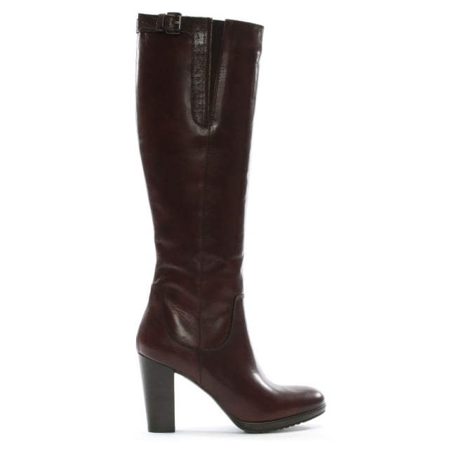 Lamica Brown Leather Knee High Boots