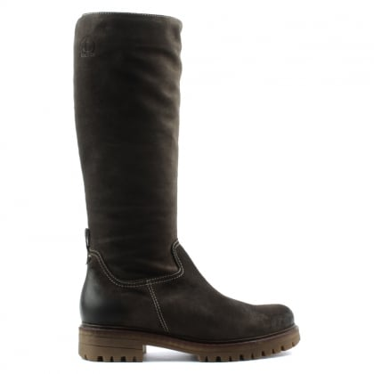 Brown Leather Knee High Walking Boot