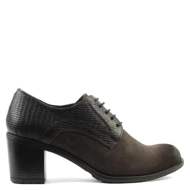 Brown Leather Lace Up Block Heel Shoe
