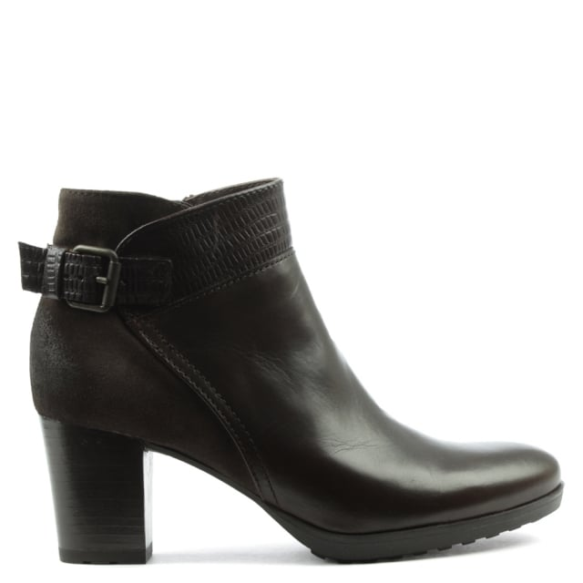 Brown Leather Low Platform Buckled Ankle Boot