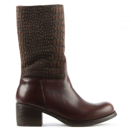 Brown Leather Moc Croc Calf Boot