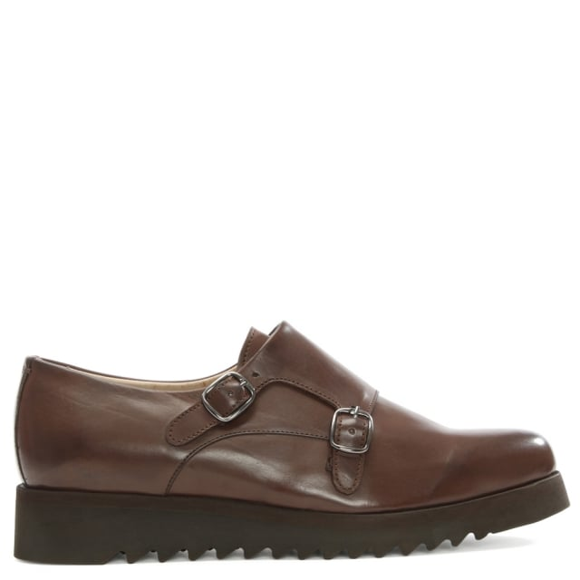 Calpierre Brown Leather Saw Edge Sole Monk Strap Shoe