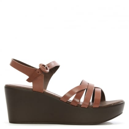 Brown Leather Strappy Wedge Sandal