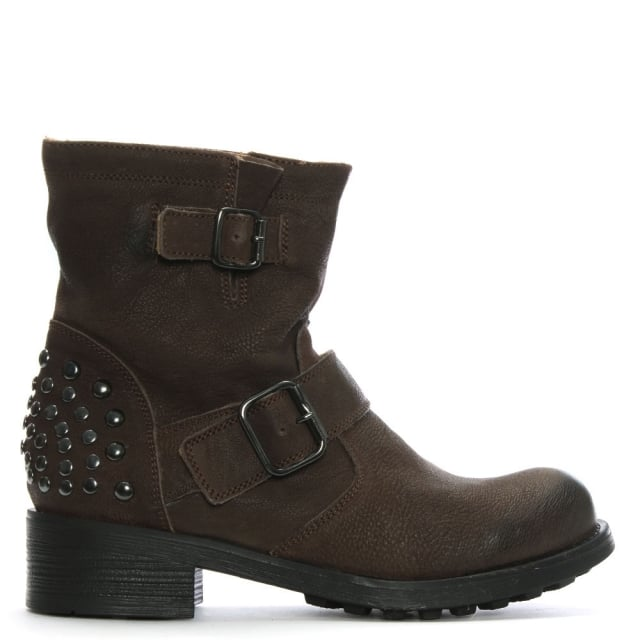 Brown Leather Studded Biker Boots