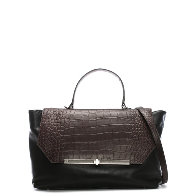 Cavalli Class Brown Leather Two Tone Day Bag