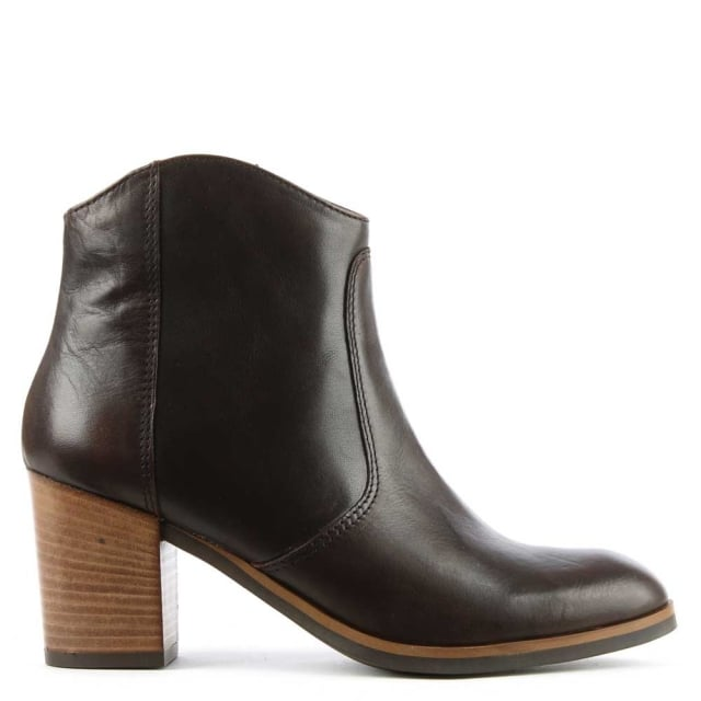 Brown Leather Western Ankle Boot