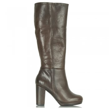 Brown Leather Yoshima Women's Knee High Boot