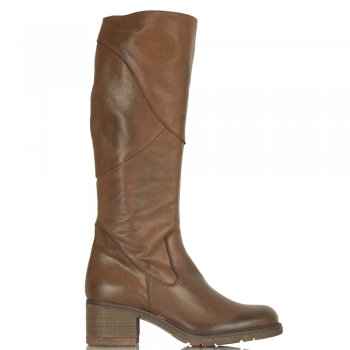 Brown Patched Women's Knee High Leather Boot