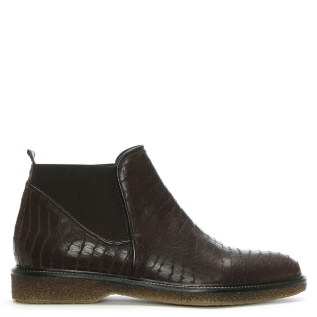 Lamica Brown Reptile Leather Chelsea Boots