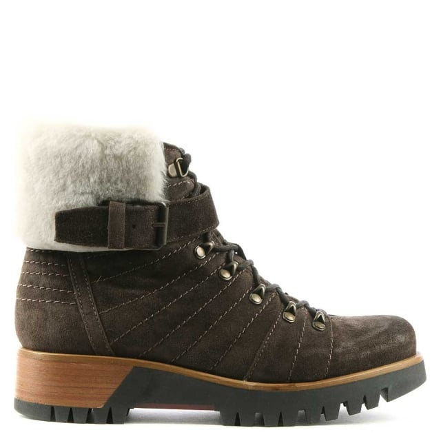 Brown Suede Fur Trim Walking Boot