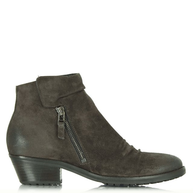 Brown Suede Monkwell Low Heel Ankle Boot