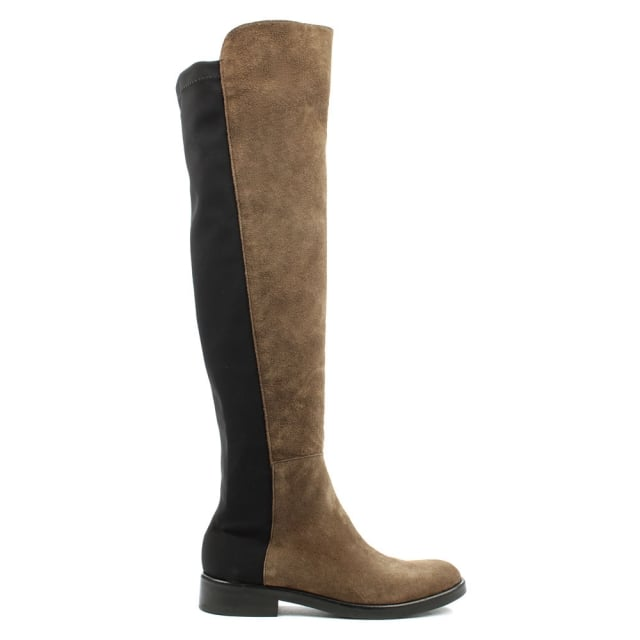Brown Suede Over The Knee Boot