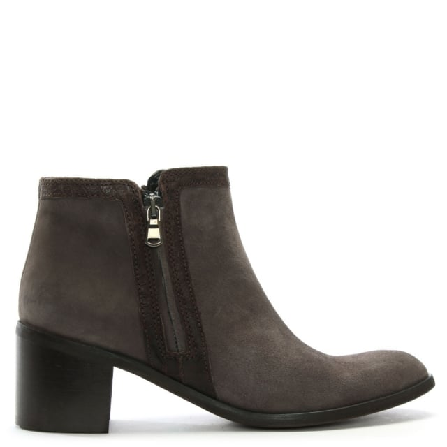 Lamica Brown Suede Reptile Trim Ankle Boots