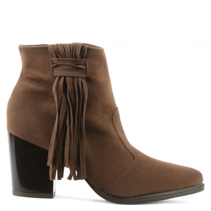 Via Uno Brown Western Tassel Ankle Boot