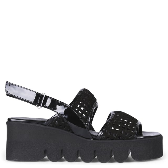 Angela Bruges Black Suede Cut Away Cleated Sandals