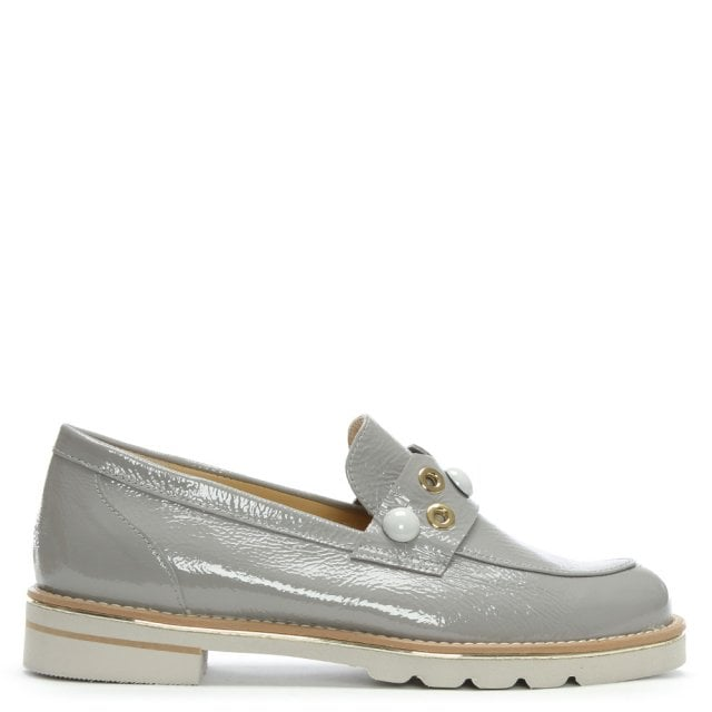 Hosier Grey Patent Leather Embellished Loafers