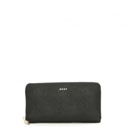 DKNY Bryant Black Leather Large Zip Around Wallet