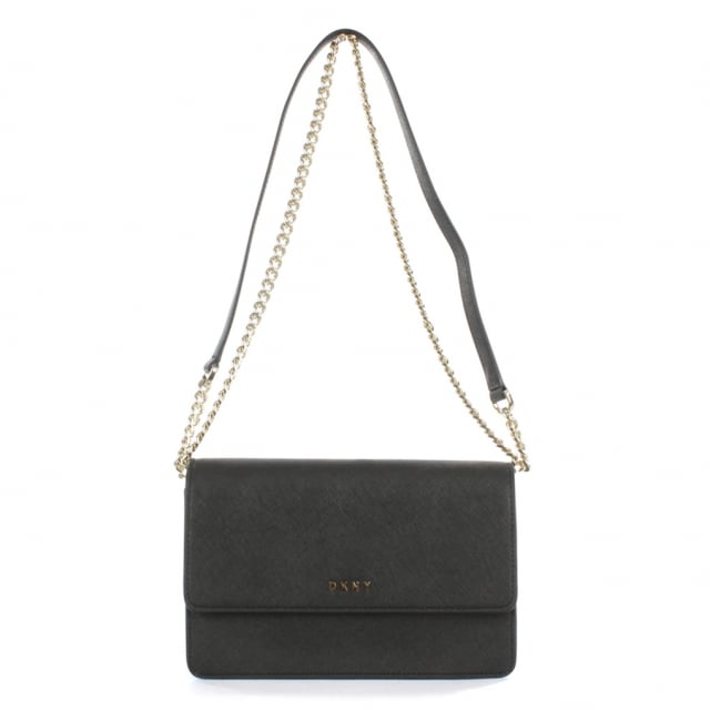 Bryant Black Saffaino Leather Flapover Cross-Body Bag