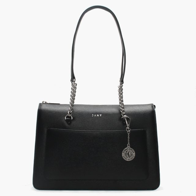 f2a77a8f58d2 DKNY Bryant Black Textured Leather Large Top Zip Tote Bag