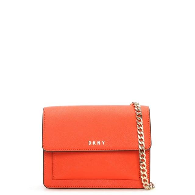 acb300e6972d DKNY Bryant Mini Orange Leather Chain Strap Cross-Body Bag