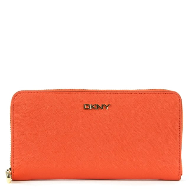 Bryant Orange Saffiano Leather Zip Around Wallet
