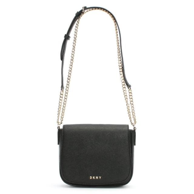 Bryant Park Black Leather Front Flap Cross-Body Bag