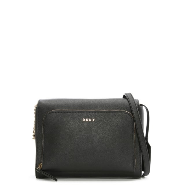 Bryant Park Black Leather Front Pocket Cross-Body Bag