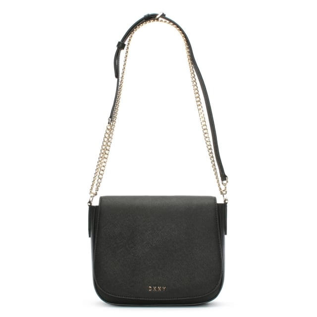 Bryant Park Black Saffiano Leather Flapover Cross-Body Bag