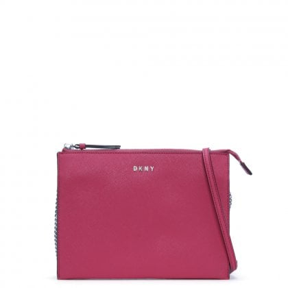 Bryant Park Cerise Saffiano Leather Cross-Body Bag
