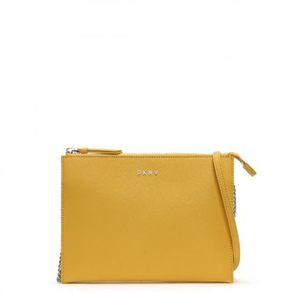 Bryant Park Ochre Saffiano Leather Cross-Body Bag