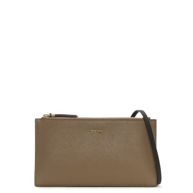 Bryant Park Taupe Saffiano Leather Cross-Body Bag