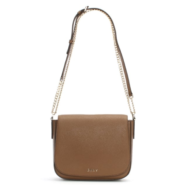 Bryant Park Teak Saffiano Leather Flapover Cross-Body Bag