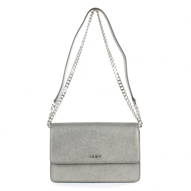 Bryant Pewter Saffaino Leather Flapover Cross-Body Bag