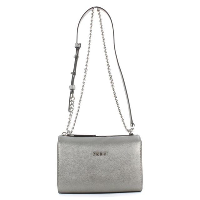 Bryant Pewter Saffiano Leather Cross-Body Bag