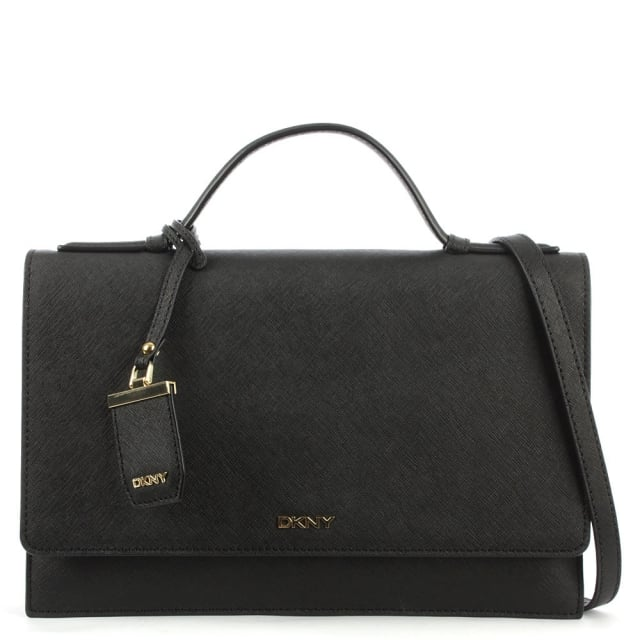 Bryant Triple Gusset Black Leather Flapover Cross-Body Bag