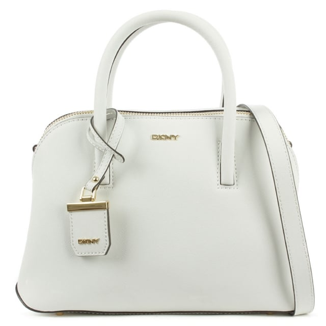 Bryant Zip Small White Leather Satchel Bag