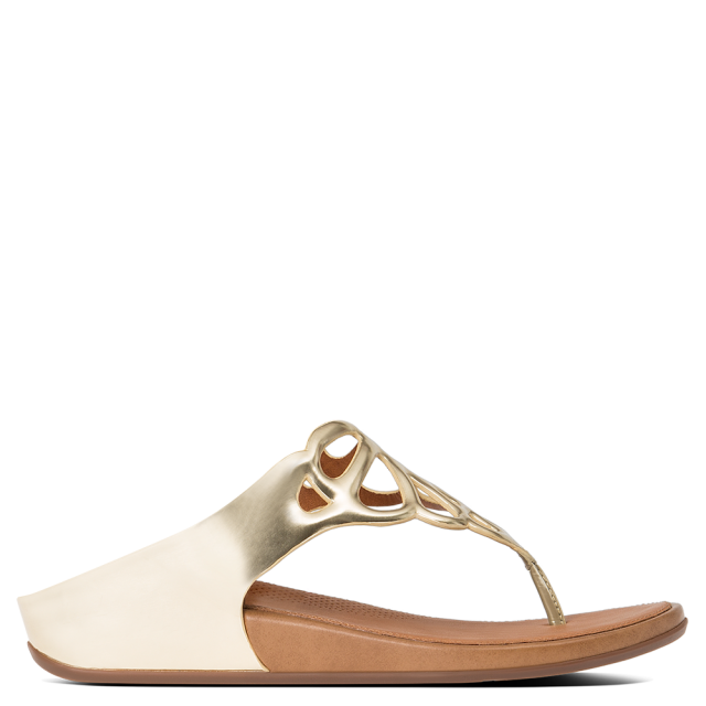 Bumble Gold Leather Laser Cut Upper Toe Post Sandal