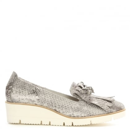 Bunchan Grey Metallic Reptile Leather Fringed Wedge Loafers