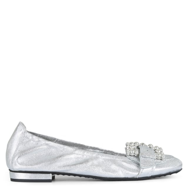 Bunton Silver Leather Embellished Pumps