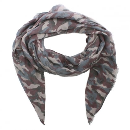Burgundy Cotton Mix Camo Print Scarf