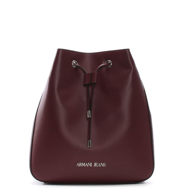 Burgundy Eco Leather Bucket Bag