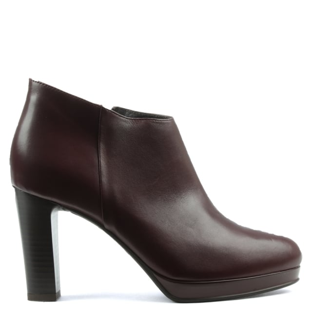 Burgundy Leather Asymmetric Top Block Heel Ankle Boot