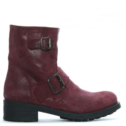 Burgundy Leather Biker Boots