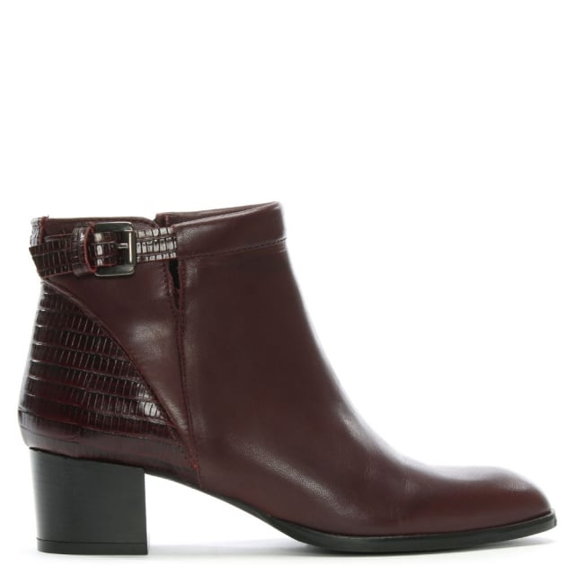 Burgundy Leather Buckled Reptile Insert Ankle Boots