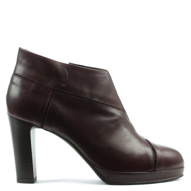 Burgundy Leather Paneled Low Platform Ankle Boot