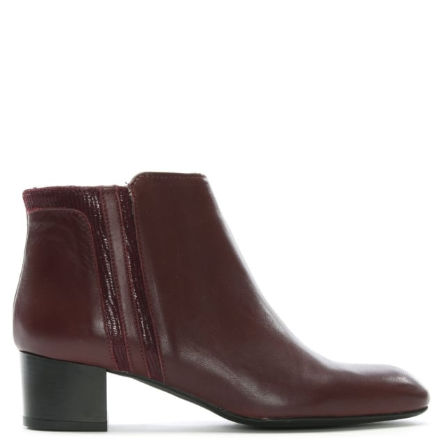 Burgundy Leather Reptile Insert Ankle Boots